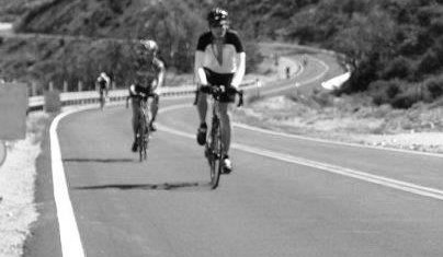 Bicyclists using the road