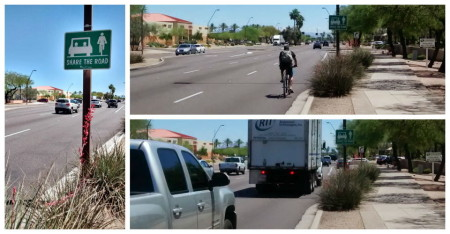 """Elliot Road, eastbound east of Priest Drive, City of Tempe. Sign placed by the city reminds users to """"Share the Road"""". Posted speed limit 45mph. Even the fastest bicyclists will be traveling well below the posted speed limit. This arterial, like most, has lanes which are """"too narrow to share safely side by side"""", and as such, cyclists going straight ahead are advised to ride near the center of the right-most through lane. Motorists wishing to overtake must change lanes (at least partially) to pass legally and safely."""